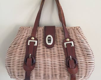 Vintage 1960s Wicker Basket Handbag with Leather Straps
