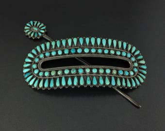 Vintage FM Begay Navajo Indian Sterling Silver Turquoise Hair Barrette