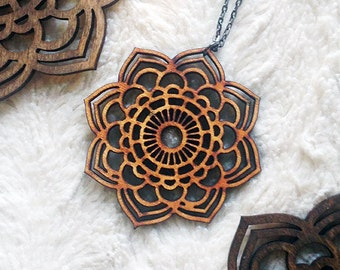 Mandala Statement Necklace - Wood Necklace, Laser Cut Jewelry, Statement Necklace, Mandala Necklace, Gift for Women, 5th Anniversary Gift