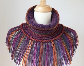 Boho Scarf with Fringe, Purple Neck Warmer, Crochet Cowl Tube Scarf, Colourful Bohemian Shawl, Unique Vegan Accessory