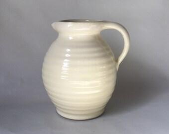 """Denby Bourne Jug Shape Vase, Cream 7.5"""". Made in England 1940s"""
