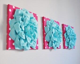 Baby Nursery Aqua Home Decor Nursery Wall Flower Decor Flower Art Canvas Art Crib Wall Room Decor 12X12 Three Hot Pink Polka Dot Aqua Dahlia