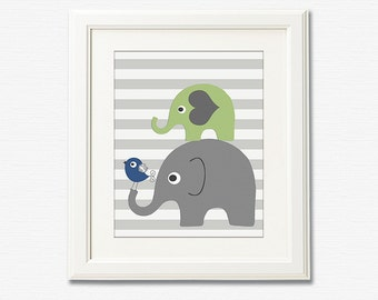 Navy , grey and green elephant Art Print - 8x10 - Children wall art, Baby boy Room Decor, green, gray,  grey, bird - UNFRAMED
