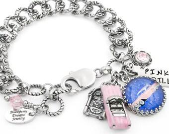 Car Bracelet, Pink Bracelet, Car Jewelry, Pink Cadillac Bracelet, Rockabilly Jewelry, Repousse Chain, Retro Jewelry
