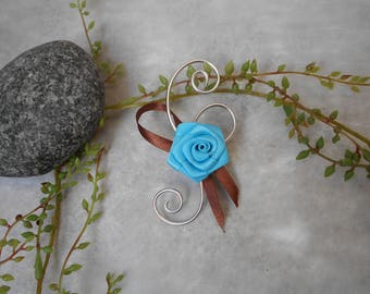 Boutonniere, brooch for wedding turquoise chocolate and silver