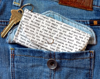 Teacher Gift, Book Lover Keychain Wallet, ID Holder Wallet, Book Worm Student  Librarian Gift, Book Nerd, Literary Gift, Card Holder