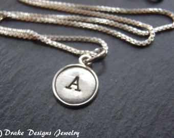 Sterling Silver typewriter key necklace Personalized  initial necklace typewriter key jewelry