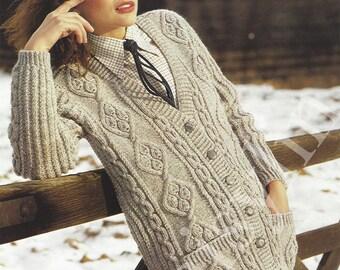 Instant PDF Download ladies aran slimline cardigan  knitting pattern  32 to 42 inch bust (113)
