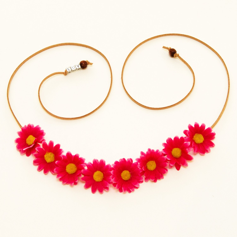 Fuchsia Daisy Flower Crown Flower Headband Festival