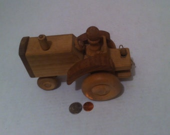 """Vintage Hand Made Quality 8"""" Big Rolling Working Farm Tractor, Rolling Wheels, Quality Made, Can Be Painted for Even More Fun, Shelf Decor"""