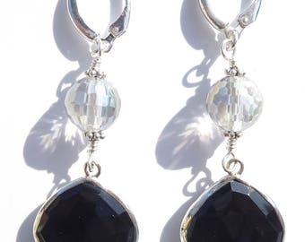 Black Onyx Earrings, Mystic Quartz Earrings, Gemstone Earrings, Black Gemstone, Sterling Wire-wrapped Earrings