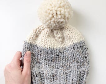 Adult Colour Block Knit Toque || Pompom hat || Knit hat || Winter accessory