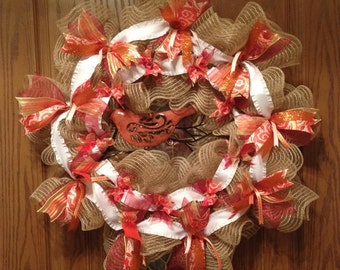 Bird Wreath, Fancy Wreath, Summer Wreath, Fall Wreath, Burlap Wreath