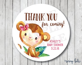 Thank You For Coming Stickers, Watercolor Monkey Tags, Gitl Monkey Thank You Tags, Monkey Baby Shower Tags, Baby Shower Labels