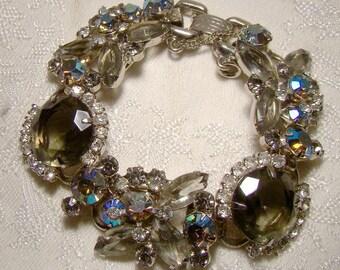 DELIZZA & ELSTER Juliana Grey and AB Rhinestone Bracelet 1950-60