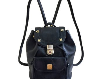 MCM Vintage Black Leater Push Lock Backpack
