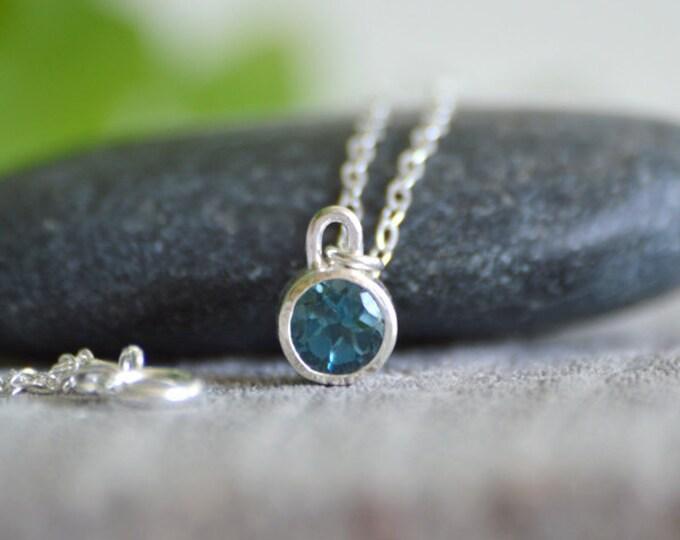 London Blue Topaz Necklace Set In Sterling Silver, November Birthstone Necklace, Birthstone Necklace