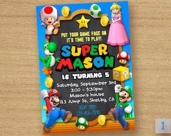 Super Mario Invitation, Super Peach Invitation, Princess Peach Birthday Party, Super Mario Card Chalkboard Invite, Super Peach Party Custom