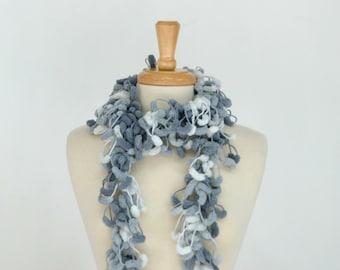 Gray Crochet Pom Pom Scarf, Long Fluffy Flirty Pompon Neckwarmer