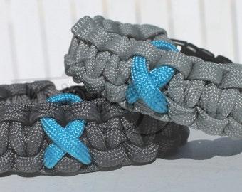 Ovarian Cancer Myasthenia Gravis Awareness TURQUOISE Ribbon 550 Paracord Survival Strap Bracelet Anklet with Buckle