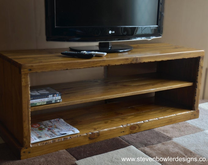 Bespoke Rustic Reclaimed Wood Country Cottage Style TV Unit Medium Oak Stain with Single Media Console Shelf Storage Handrafted to Order