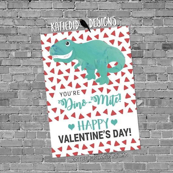 dinosaur valentine's day cards | preschool valentines | valentine cards kids | valentine card ideas | school valentine's day | Katiedid Card