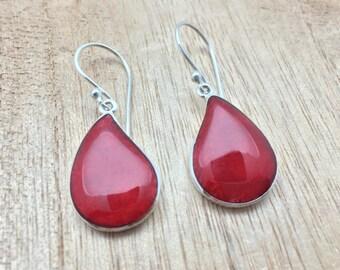 Red Shell Teardrop Earrings // 925 Sterling Silver // Hypoallergenic // Hook Backing