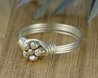 Sale! Dainty Flower Ring-Sterling Silver, Yellow or Rose Gold  Filled Wire Wrapped Ring with Tiny Metal Bead-Size 4 5 6 7 8 9 10 11 12 13 14