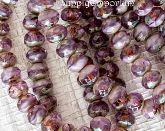 7x5mm Lavender Cornflower Picasso Rondelle Beads - Czech Glass Rondelle Bead - 1169 - 25 Beads