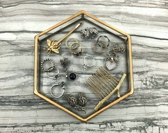 Ring Dish, Jewelry Dish, Ring Tray, Jewelry Tray, Hexagon, Clear Glass, Geometric Ring Dish, Vanity Tray, Catch All, Jewelry Storage, Gold
