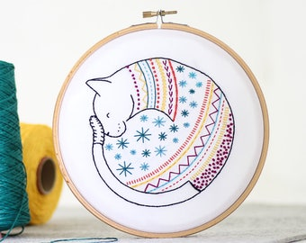 Cat Embroidery Kit - Embroidery Design - Nursery Decor - Hand Embroidery - Hoop Art - DIY Kit - Modern Embroidery - Adult Craft Kit