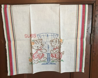 Vintage Tea Towel, 1950's Hand Embroidered CATS KITTENS Woven Striped Cotton, GLASS Drying Cotton, Cottage Kitchen Decor