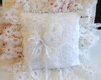 Bridal Pillow, Wedding Supply, White Pillow, Ring Bearer Pillow, (P-27)