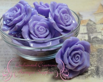 42mm Resin Flower Beads Lavender Qty 4