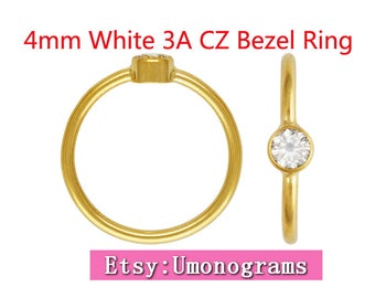 14K Yellow Gold Filled Stacking Ring 4mm White 3A CZ Bezel Ring US Size 5/6/7/8 Wholesale Jewelry Findings 1/20 14kt GF