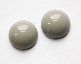 Vintage Opaque Gray Domed Glass Cabochons 18mm cab706T
