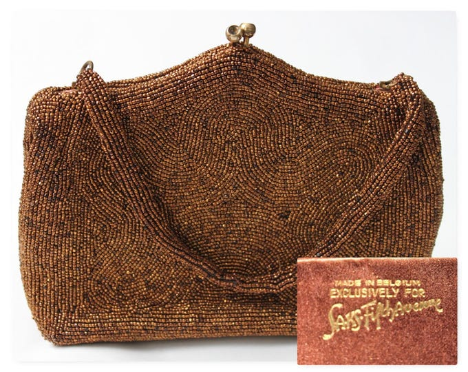 1955 Exquisitely Beautiful Vintage  Beaded Purse made in Belgium Exclusively for Saks Fifth Avenue
