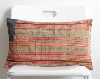 Brown White Blue VINTAGE Batik Hand Dyed HEMP HMONG Ethnic Tribal Textile Batik Pillow Case