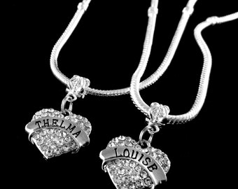 Thelma and Louise necklace set 2 necklaces Thelma necklace Louise necklace Best friends BFF  Besties