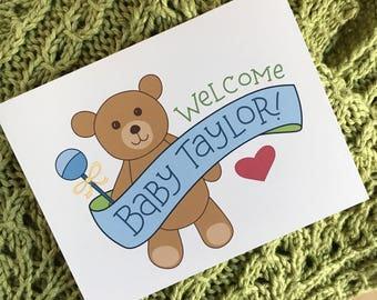 Welcome Baby Congratulations Card / Custom New Baby Card / Illustrated Teddy Bear Baby Congrats Card / Hand Lettered Custom Baby Name Card