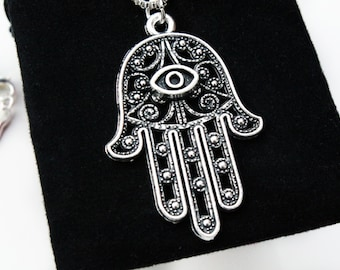 Sterling Silver Necklace, Hamsa Hand Necklace, Hamsa Hand, Hamsa Charm, Hand Of Hamsa, Silver Necklace, Hamsa Jewelry, Gift,Silver Jewellery