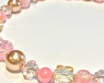 Toddler and Kid's Champagne & Pink Necklace • Chunky Necklace • Girls Necklace • Toddler Necklace •