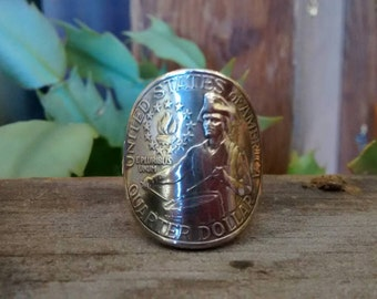 1976 Bicentennial Drummer Boy Quarter Wraparound Ring with Sterling Silver Band MADE TO ORDER.