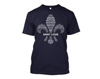 STL Neighborhoods Navy Canvas Tee, St Louis T-Shirt, Soft T-Shirt, Saint Louis