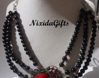 Elephant Black and Garnet Necklace Set