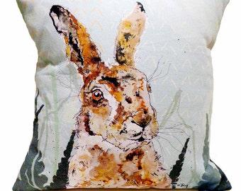 Animal Cushion, Hare Cushion, Wild Animal Cushion, Animal Pillow, Cotton Cushion, British, Personalised, Scatter Cushion, Country Cushion