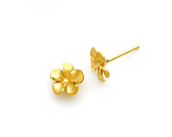 14k solid gold Plumeria post earrings.