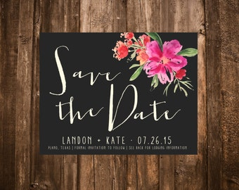 Floral Save the Date, Tropical; Printable or set of 10