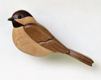 Chickadee Songbird Wooden Magnet Ornament Intarsia Wood Carving Backyard Bird Decoration