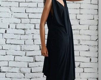SALE Long Black Dress/Maxi Black Dress/Loose Black Dress/Evening Black Dress/Oversize Black Dress/Long Loose Dress/Asymmetric Handmade Dress